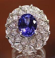 Cocktail Ring Size 7 Womens Ladies 14K White Gold 6.65Ct Tanzanite Diamond