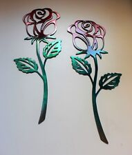 """Rose Metal Wall Art Accent Red & Green  Pair of Roses 12"""" x 5"""""""
