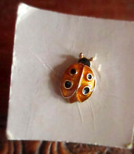 NEW ON CARD TINY GOLDEN LADYBUG True Vtg 70s tin pin pinback