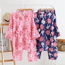 Rabbit Cherry Blossom Ladies Japanese Chinese Kimono Pyjamas Pajamas Set ladpj92