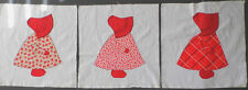 Vintage SUN BONNET SUE Quilt Squares SET of 3 in RED Applique Embroidery