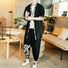Mens Chinese Style Shirts Pants Summer thin cardigan tang suit Vintage 2-Piece