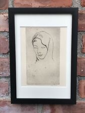 New York Realist Artist Kenneth Hayes Miller Etching. Hooded Head. 1922. Signed