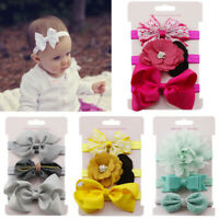 UK 3Pcs Kids Elastic Floral Cute Headband Hair Girls baby Bowknot Hairband Set