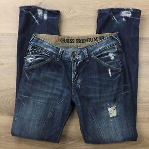 Guess Premium  Distressed Size 31 Men's Blue Denim Jeans 100% Cotton (BQ18)