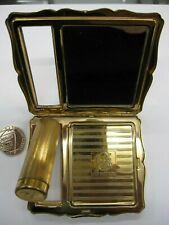 STRATTON LADIES COMPACT BEAUTIFUL DESIGN WITH LIPSTICK HOLDER GOLD COLOUR