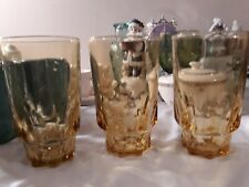 Set of 3 Vintage Yellow Amber Tiffany Tumblers Glasses