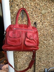 Lin & Leo large red leather Changing Bag with long detachable strap