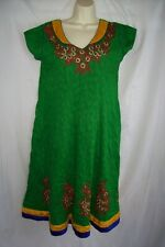 Vintage Embroidered Floral Ethnic Hippie Boho Peasant Festival Green Dress XL