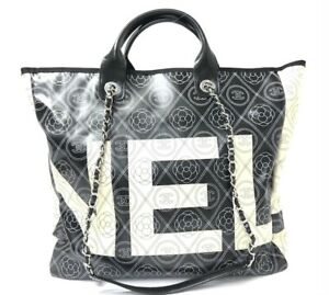 Chanel Tote Bag Shopping Purse Camellia Floral Black Ivory A57161 Woman Auth New