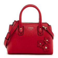 NWT GUESS Liya Crossbody Small Satchel Handbag Purse Red w/flowers