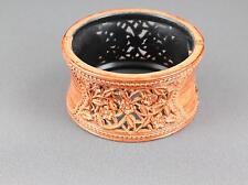 Copper  bangle bracelet carved floral plastic hinged wide bangle cuff flowers