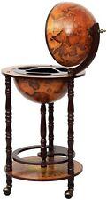 "New 17"" Wood Globe Wine Bar Stand 16th Century Italian Liquor Bottle Shelf Rack"