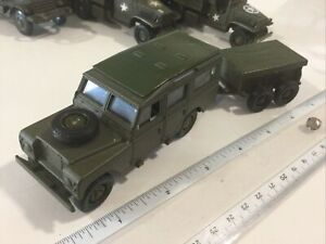 VINTAGE SOLIDO #109 MILITARY GREEN LAND ROVER WITH CARGO TRAILER 1:43 FRANCE