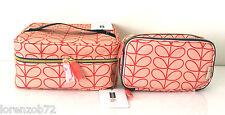 ORLA KIELY Sweet Pea Orange Train Case & Double Zip Makeup Beauty Travel Bag Set