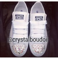 Custom Personalised Crystal Converse Bling Wedding Bride Bridesmaids Prom Shoes