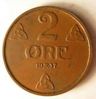 1937 NORWAY 2 ORE - Excellent Coin - FREE SHIP - Norway Bin BB