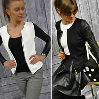 Women Slim Solid Short Jacket Check Vintage Blazer Bomber Zipper Biker Overcoat