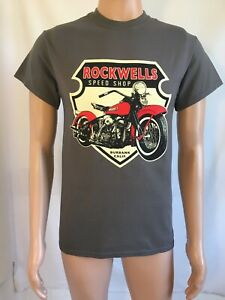 Rockwells Speed Shop Harley Davidson Panhead style  T Shirt with back print