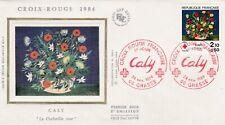L47 enveloppe  1 er Jour CROIX ROUGE CALY La Corbeille de Rose GRASSE 24/11/1984
