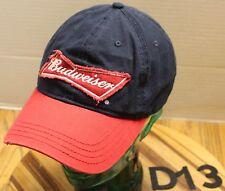 NICE RED/BLUE BUDWEISER BEER HAT EMBROIDERED STRAPBACK ADJUSTABLE VGC D13