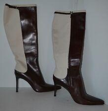 Vintage Ralph Lauren Brown Ivory Heel Boot New No Box Italy Size 10