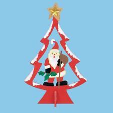 25cm Madera Navidad árbol con personaje - Rojo Con Papá Noel