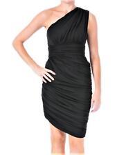 Halston Heritage ~ Black Ruched One Shoulder Sheath Clubwear Dress XXS NEW $395