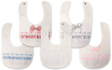 Beautiful Baby Spanish Style Romany Broderie Anglaise Slotted Ribbon & Bows Bib