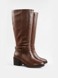 Evans Womens Wide Fit Brown Knee High Leg Faux Leather Boots Winter Shoes