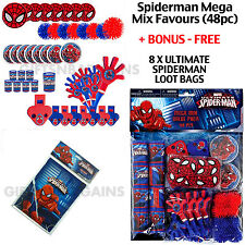 Spiderman Superhero Birthday Party Mega Value Favour Pack 48pc +Free 8 Loot bags