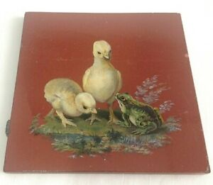 Antique Minton tile ducklings and frog
