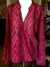 NWT $130 Michael Kors red and black blouse wrap top semi sheer long sleeve S