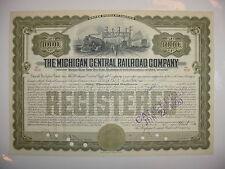 $1,000 Michigan Central Railroad Company Bond Stock Certificate Series of 1909