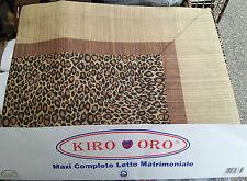 Completo Letto Lenzuola Matrimoniale 2 Piazze Leopardato Maculato Puro Cotone