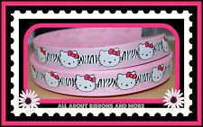 7/8 HELLO KITTY PINK ZEBRA GROSGRAIN RIBBON - 1 YARD
