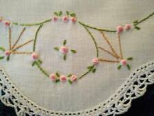 Charming Pink Grub Roses   Vintage Hand Embroidered Doily