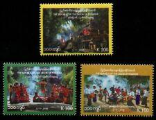 Myanmar Burma 2019 Unabhängigkeit Folklore Trachten Musik Tempel 463-465 MNH