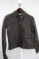 Chico's Cotton Blend Dark Brown Button Down Jacket Size - 4 or Small