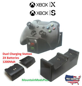 New Xbox Series X/S Dual Controller Charging Docking Station + 2 Battery 1200Mah