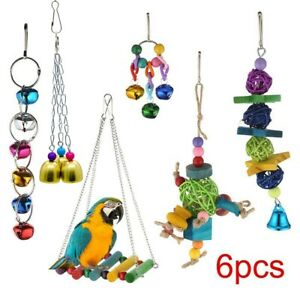 Small Parrot Toys Metal Rope Ladder Stand Budgie Cockatiel Cage Bird Toy Set/
