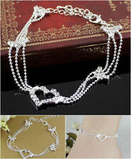 Womens Crystal Heart Ankle Bracelet Sterling Silver Bead Anklet Foot Chain Beach