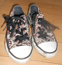 Girls Converse All Star White Black & Pink Pumps Size 10 Lace Ups with Zips