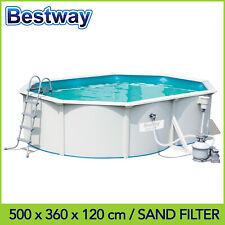 Bestway 16.4ft Hydrium Oval Steel Wall Above Ground Pool 5 x 3.6 x 1.2m