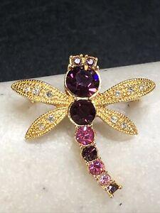 Vintage Avon Pink & Purple Rhinestone Gold Tone Dragonfly Brooch Pin