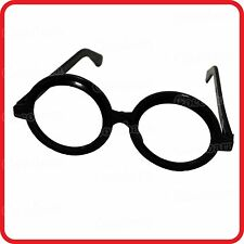 NERD-CLOWN-SCHOOL BOY-LENSLESS BLACK RIM ROUND GLASSES-FUNNY COSTUME-PARTY