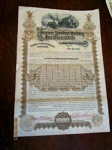 1893 Texas Sabine Valley Northwestern Railroad Company Stock Certificate
