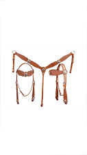 Western Natural Leather Set of Headstall and Breast collar with spots & conchos