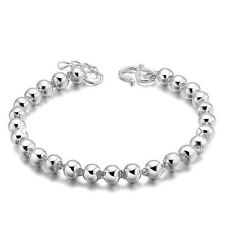 Women 925 Sterling Silver Bead Smooth Chain Bangle Cuff Charm Bracelet Good Sale