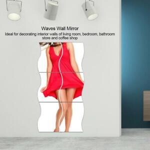6Pcs/Set Acrylic Wavy Wall Mirrors 6 Piece Lightweight Adhesive Mirrored Tiles